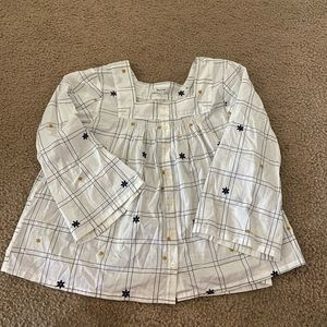 Madewell Button Front Embroidered Top